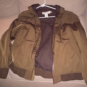 Green H&M jacket with hood and inside pocket